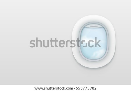 realistic portholes of airplane