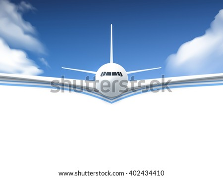 realistic poster white airplane