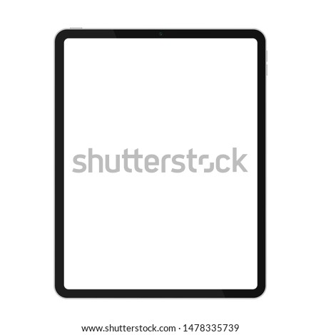 Realistic premium thin frame design tablet mockup for any project or presentation vector illustration.
