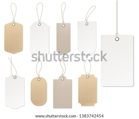 Realistic price tag. Cardboard label, paper sale tags mockup blank labels template shopping gift empty stickers with ropes tags vector set