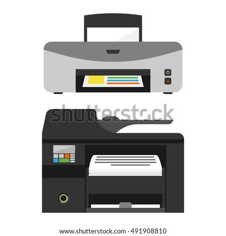 Realistic printer machine sign design paper print symbol