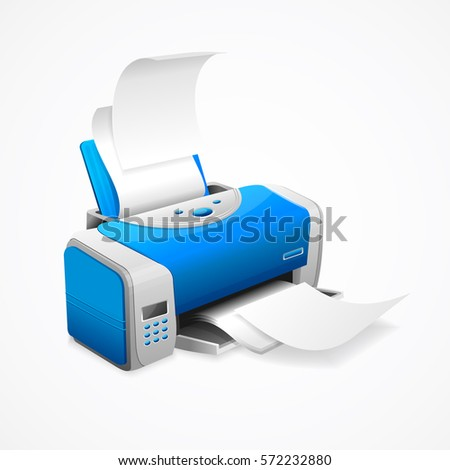 Realistic Printer Machine with White Paper Working Office Equipment for Your Business. Vector illustration