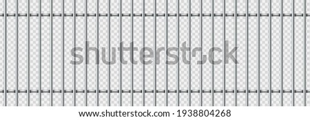 Realistic prison metal bars isolated on transparent background. Prison fence jail. Iron jail cage. Template design for criminal or sentence. Vector illustration