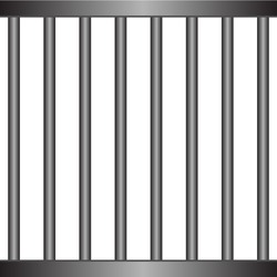 realistic prison metal bars isolated on white background. Iron jail cage. Prison fence jail.