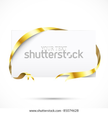 Realistic promo tag. Paper with gold ribbon