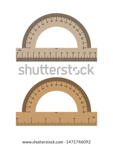 Realistic protractor with a realistic ruler of 14 centimeters and 5 inches. Set of protractors.