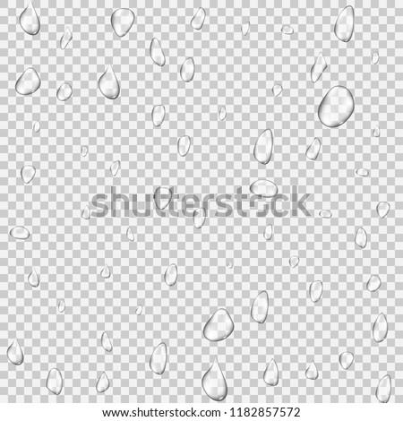Realistic rain water drops transparent background. Reflection clean drop condensation bubble set. Vector illustration