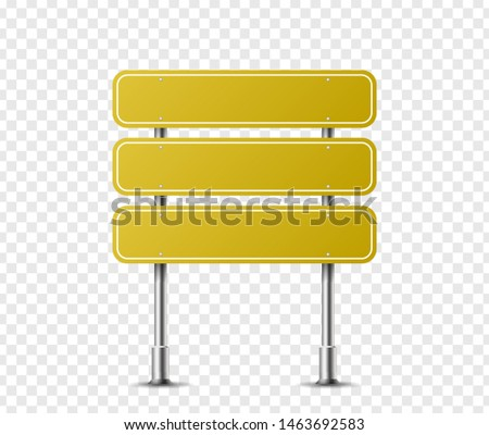 Realistic rectangle traffic sign on metal steel pole isolated. Yellow road panel mockup - direction highway, board text, city location, street arrow, stop, danger, warning signage. Vector illustration
