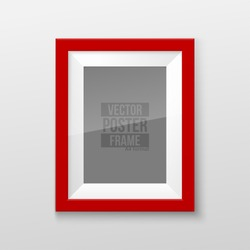 Realistic Rectangular Square Bright Red Color Blank Picture Frame A3, A4 sizes, hanging on a White Wall from the Front. Vector illustration Empty Frame with Shiny Glass. Design Template for Mock Up.
