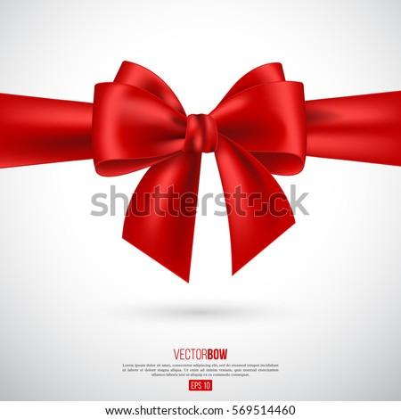 Realistic red bow and ribbon. Element for decoration gifts, greetings, holidays. Vector illustration. EPS 10.