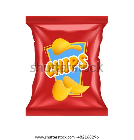 Realistic red chips package with snack label isolated with shadows and highlights vector illustration