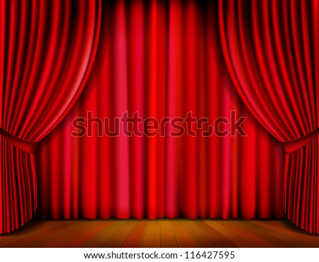 Realistic red curtain on wooden stage. Vector Illustration