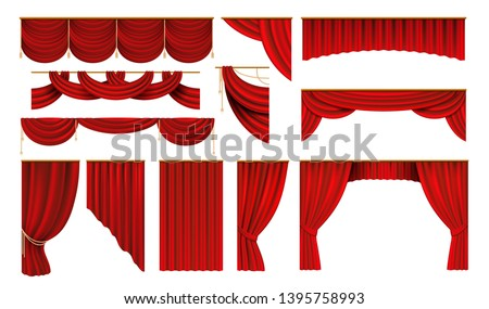 Realistic red curtains. Cinema and theater stage borders, 3D elegant backdrop folding drapery. Vector movie and opera interior silk #1395758993
