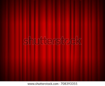 Realistic Red Full Closed Stage Curtains Background Symbol Cinema Theatre Opera And Concerts