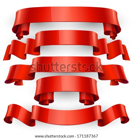 Realistic Red Glossy vector ribbons with a stripe for your design project