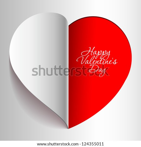 Realistic Red Heart cut out of paper. Valentine's day or Wedding vector background