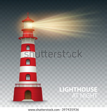 Realistic red lighthouse building isolated on white background. Vector illustration EPS10