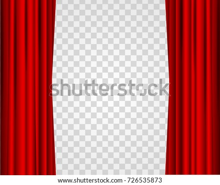 Realistic Red Opened Stage Curtains On A Transparent Background Element Of Interior Decoration Place For Your