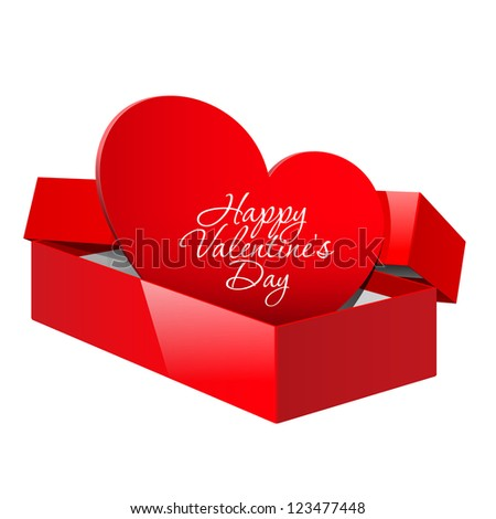 Realistic Red Package Box Opened with a red heart inside. Design element for Valentine's day or Wedding. Vector illustration