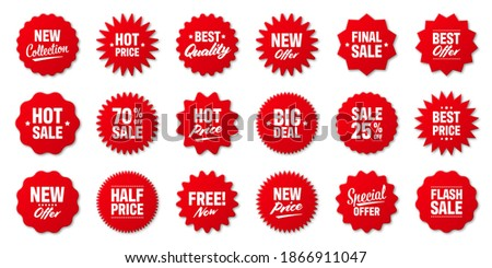 Realistic red price tags collection. Special offer or shopping discount label. Retail paper sticker. Promotional sale badge. Vector illustration.