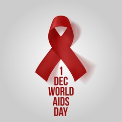 Realistic red Ribbon. 1 december, World Awareness AIDS Symbol isolated on white Background