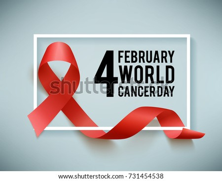Realistic red ribbon, world aids day symbol, 1 december, vector illustration. World cancer day symbol 4 february.