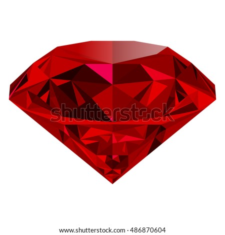 Realistic red ruby isolated on white background. Shining red jewel, colorful gemstone. Can be used as part of logo, icon, web decor or other design.