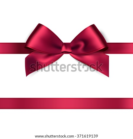 realistic red satin ribbon on