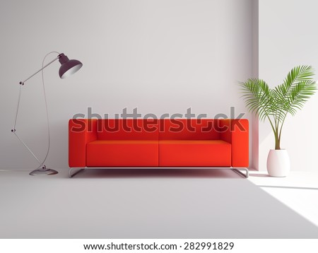 realistic red sofa with floor