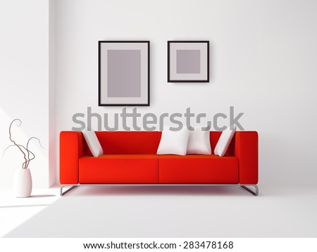 realistic red sofa with white