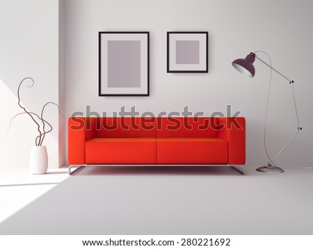 realistic red square sofa with