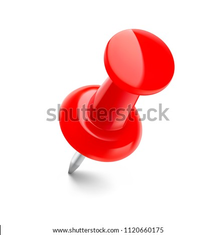 Realistic red thumbtack pin isolated on white background. Vector illustration ready to use for your design. EPS10.