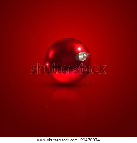 Realistic red vector Christmas ball for holiday design. eps 10.