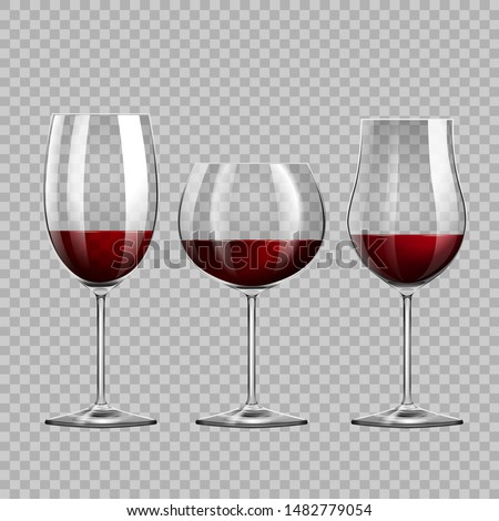 Realistic red wine glasses collection on the transparent background. vector collection.
