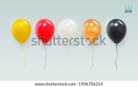 Realistic red, yellow, black, white and glossy golden balloon. Glossy realistic 3d balloon for Birthday party. For your design and business. Vector illustration. Isolated on white background.