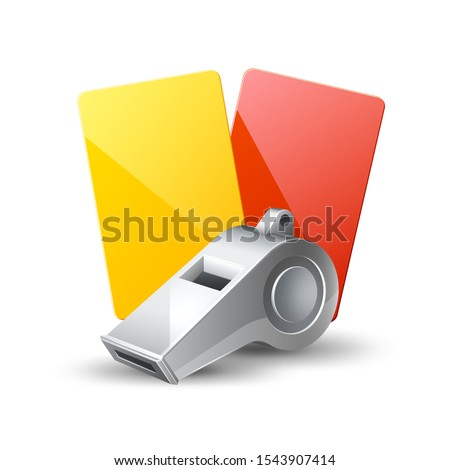 Realistic referee whistle and yellow and red cards for soccer championship design. Vector sport judgement equipment. American football, basketball and soccer competition symbol.