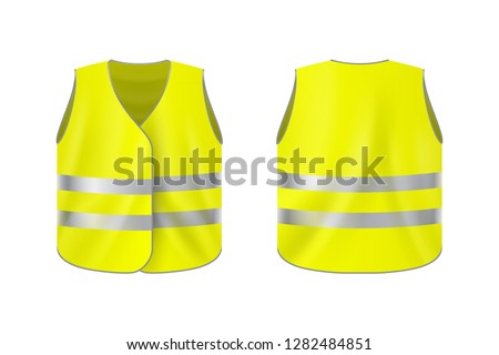 Realistic reflective vest, front and back view, safety jacket on plain background Foto stock ©