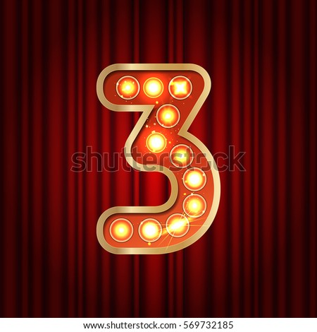 Realistic retro gold lamp bulb font number 3. Part of alphabet in vintage casino and slots style.  Vector shine symbol of alphabet with golden light and sparkles on red curtains background show style