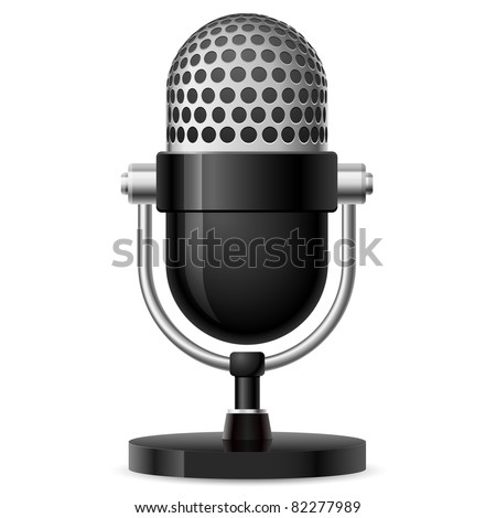 Realistic retro microphone number two. Illustration on white background for design