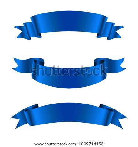 Realistic ribbon banners.Vector blue ribbons.