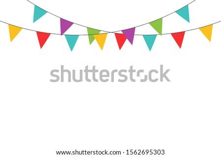 Realistic ribbon on yellow backdrop. Happy carnival. Confetti festive colorful carnival illustration. Celebrate background. EPS 10 Stockfoto ©