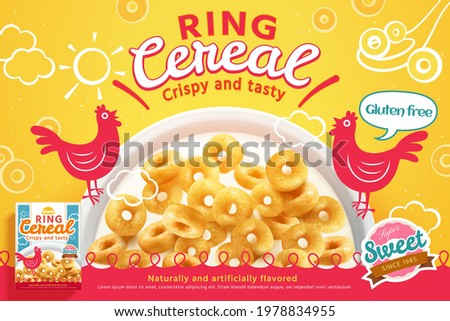 Realistic ring cereal in the milk bowl with roosters illustration as a morning meal. 3d advertisement banner Сток-фото ©