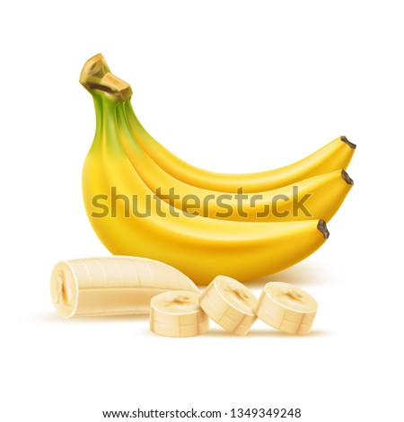 Realistic ripe banana bunch, sliced banana without peel. Fresh yellow peeled fruit for healthy eating, organic food adverts design. Sweet fruit full of vitamins. Vector delicious dessert