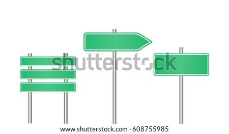 realistic road sign set  road
