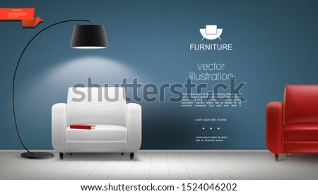 Realistic room interior background with shining floor lamp red and white leather armchairs vector illustration