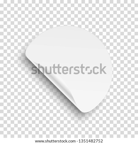 Realistic round adhesive sticker tag with peel fold corner on transparent background. Blank templates of a price tags. Template design for store discount sale poster, advertising, promotional message. #1351482752