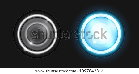 Realistic round glass lamp or car headlight isolated on black background. Vector 3d illustration.
