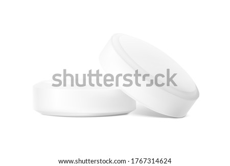 Realistic round pills isolated on white background. Vector illustration. Can be used for medical and cosmetic. EPS10. Photo stock ©