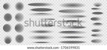 Realistic round shadows. Square transparent surface shades, floor oval and circle blurry edges shadows vector isolated templates set. Template shadow soft, realistic shape shade illustration
