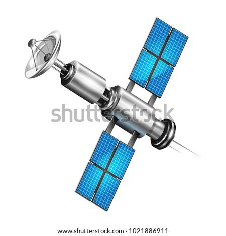 Realistic satellite. 3d satelite vector illustration. Wireless satellite technology.
